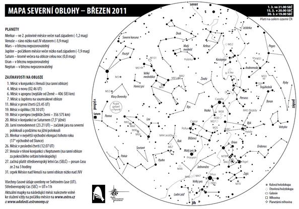 mapa oblohy na březen 2011
