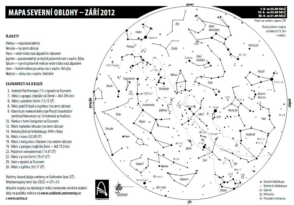 mapka oblohy v září, Aleš Majer