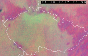 Snímek družice MSG 21. 10. 2012