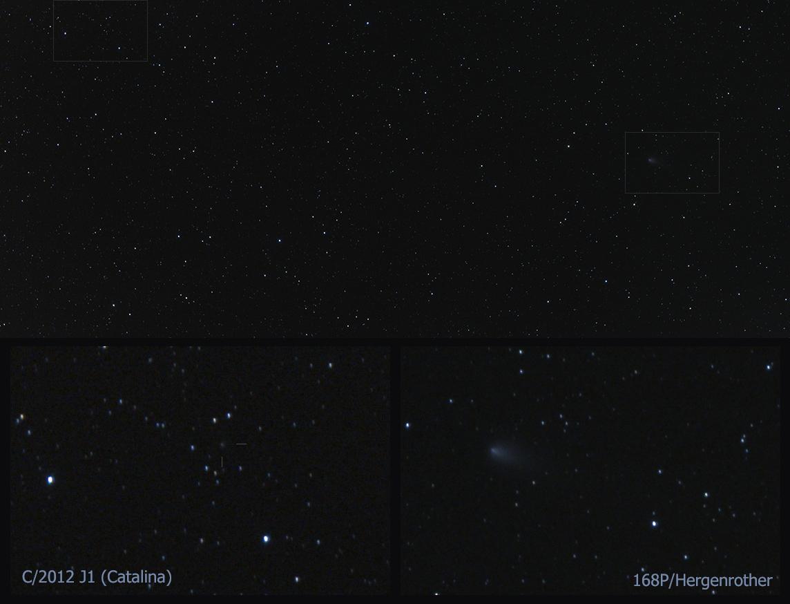 Komety 168P/Hergenrother a C/2012 J1 (Cathalina) v Pegasu poblíž sebe 19.10.2012 22 SELČ