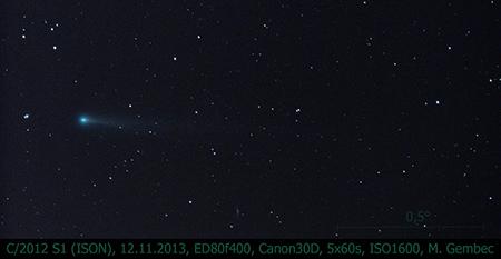 kometa C/2012 S1 (ISON), 12. 11. 2013, foto Martin Gembec