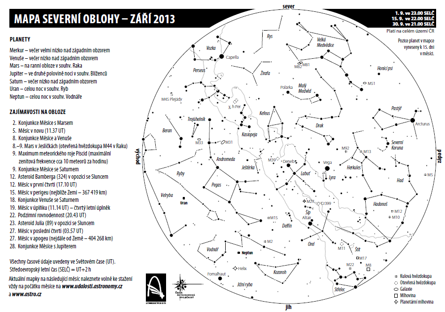 mapka oblohy září 2013 Aleš Majer