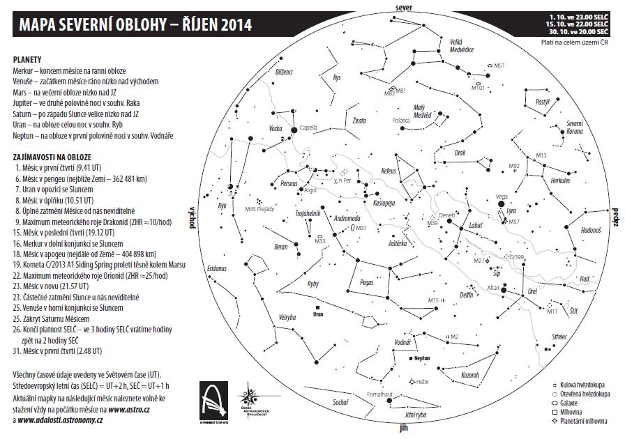 mapa oblohy v říjnu 2014
