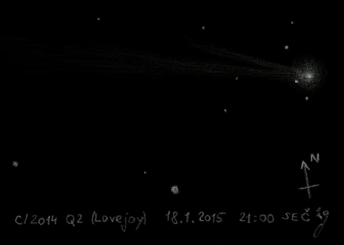 kresba komety Q2 Lovejoy 18.1.2015