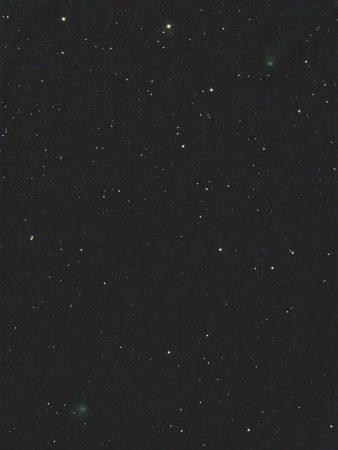 Komety C/2017 T2 (PanSTARRS) nahoře a C/2019 U6 (Lemmon) dole, 1. 8. 2020 kolem 23 SELČ, tři pole 10×60s, ISO1600, Canon 6D, Orion CT8.