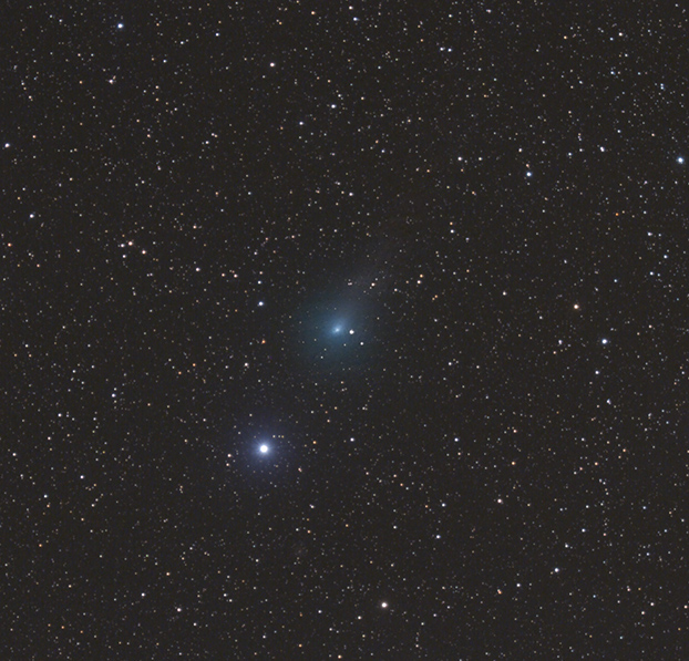 Kometa C/2017 O1 (ASASSN) 19. 10. 2017 kolem 22:30 SELČ. Foto: Martin Gembec