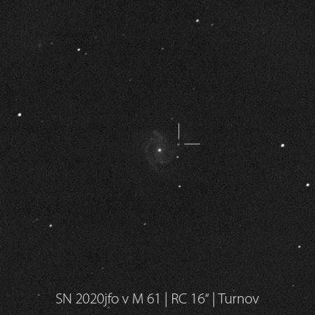 """Supernova 2020jfo na snímku Aleše Majera přes 16"""" dalekohled turnovské hvězdárny"""