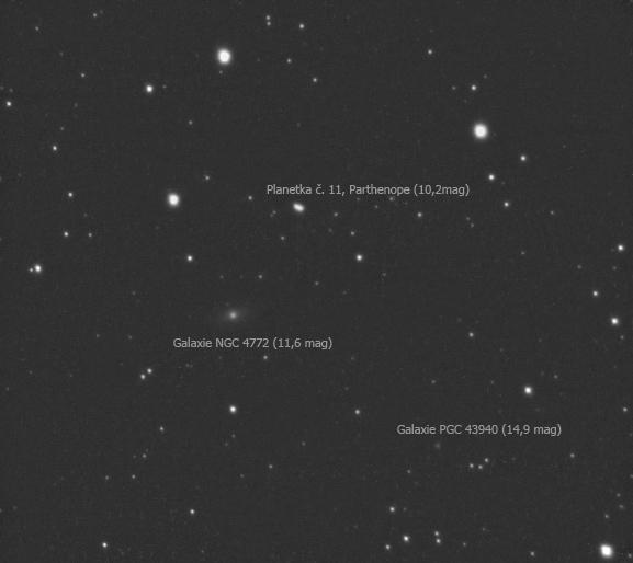 Planetka Parthenope mezi galaxiemi