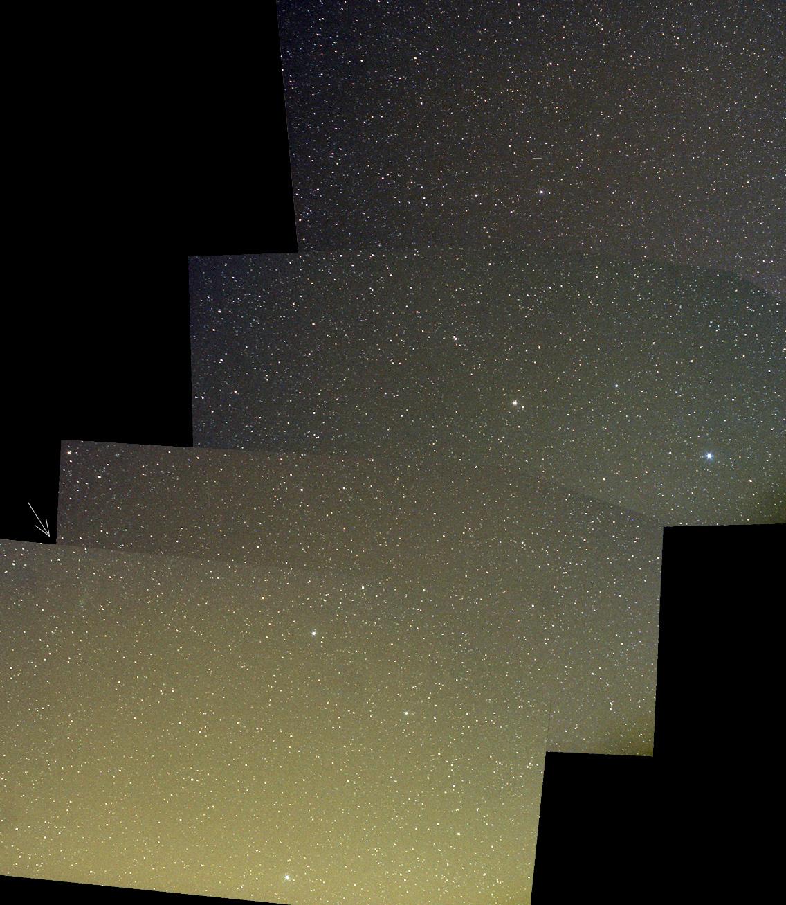 Mozaika Lva s dvěma kometami. Zatímco 45P ještě najdete snadno podle šipky vlevo dole, na 41P už aby si jeden vzal lupu…