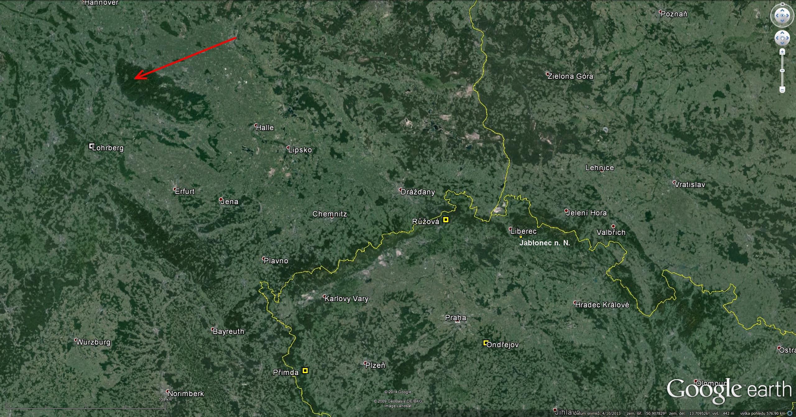 Atmosférická dráha bolidu + stanice + místo pozorování v Jablonci