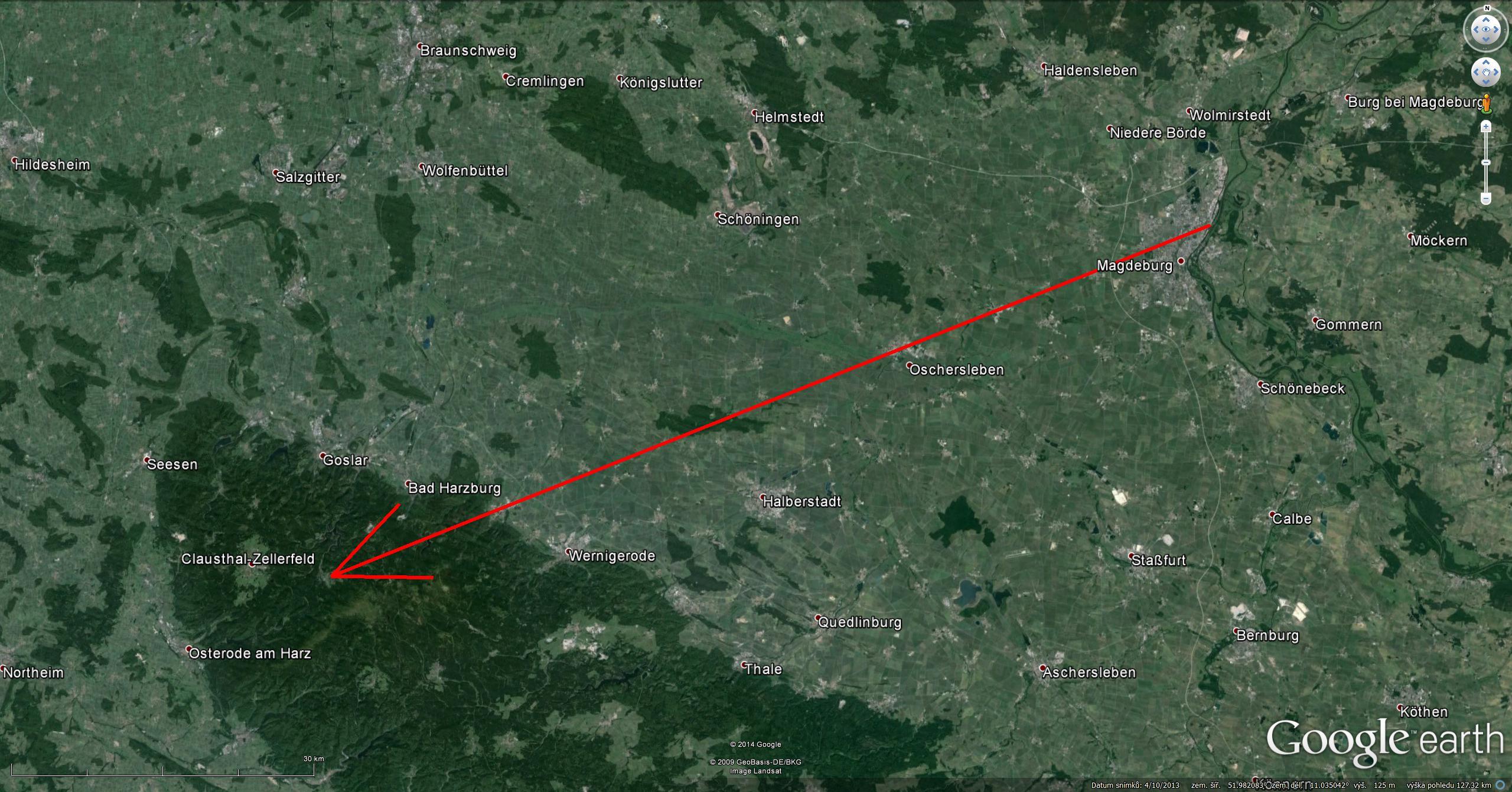 Atmosférická dráha bolidu z 13. srpna 2014