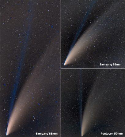 C/2020 F3 (NEOWISE) 14-15.7. 2020, Jizerka, Pentax K-70, Samyang 85mm T1.5 AS IF UMC, & Pentacon auto 50/1.8, 3 série po 60x10sec ISO 800 f/2,8