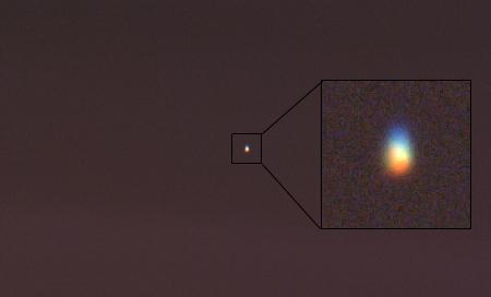 hvězda Castor velmi nízko nad obzorem přes 11