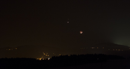seskupení Měsíce Venuše a Marsu 20.2.2015