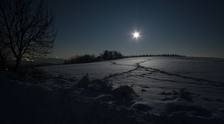 zimní Kopanina při svitu Měsíce