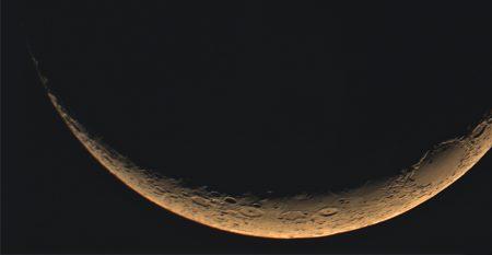 Měsíc zaznamenaný kamerkou během pozorování konjunkce 12. 7. 2021, Vixen ED81S, kamera QHY5III-224C, 432 ze 1728 sn, zostřeno v Registax 6