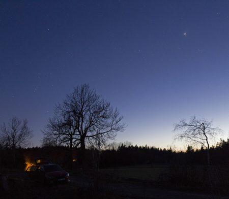 Venuše a Orion 9. dubna 2020 na Kopanině