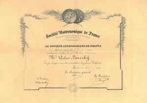 Ing. Václav Borecký, člen Francouzské astronomické společnosti
