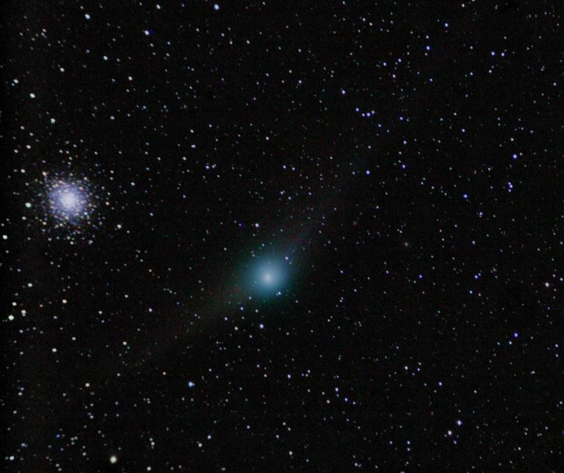 kometa C/2009 P1 (Garradd) u kulové hvězdokupy M92 v Herkulu