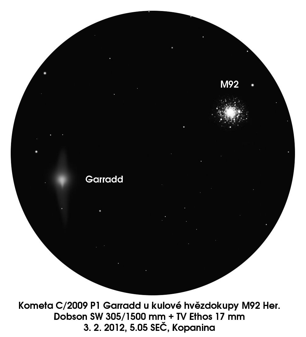 kresba komety Garradd u M92