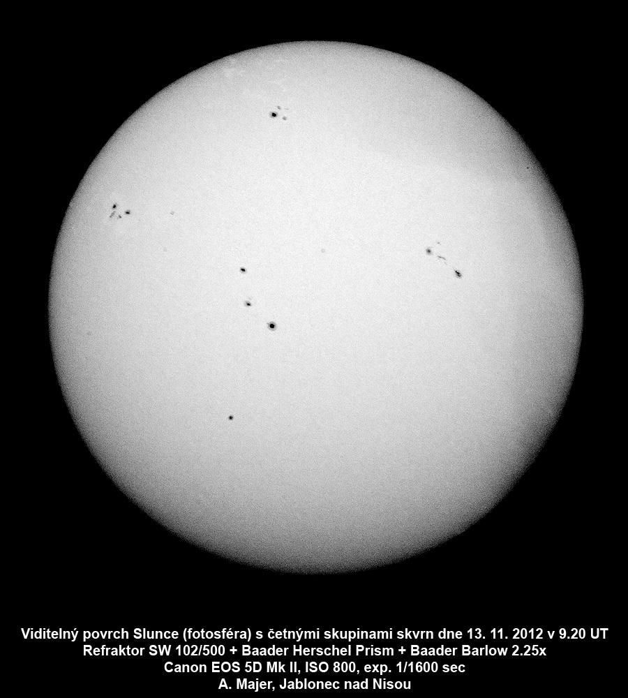 Sluneční fotosféra 13.11.2012 Aleš Majer