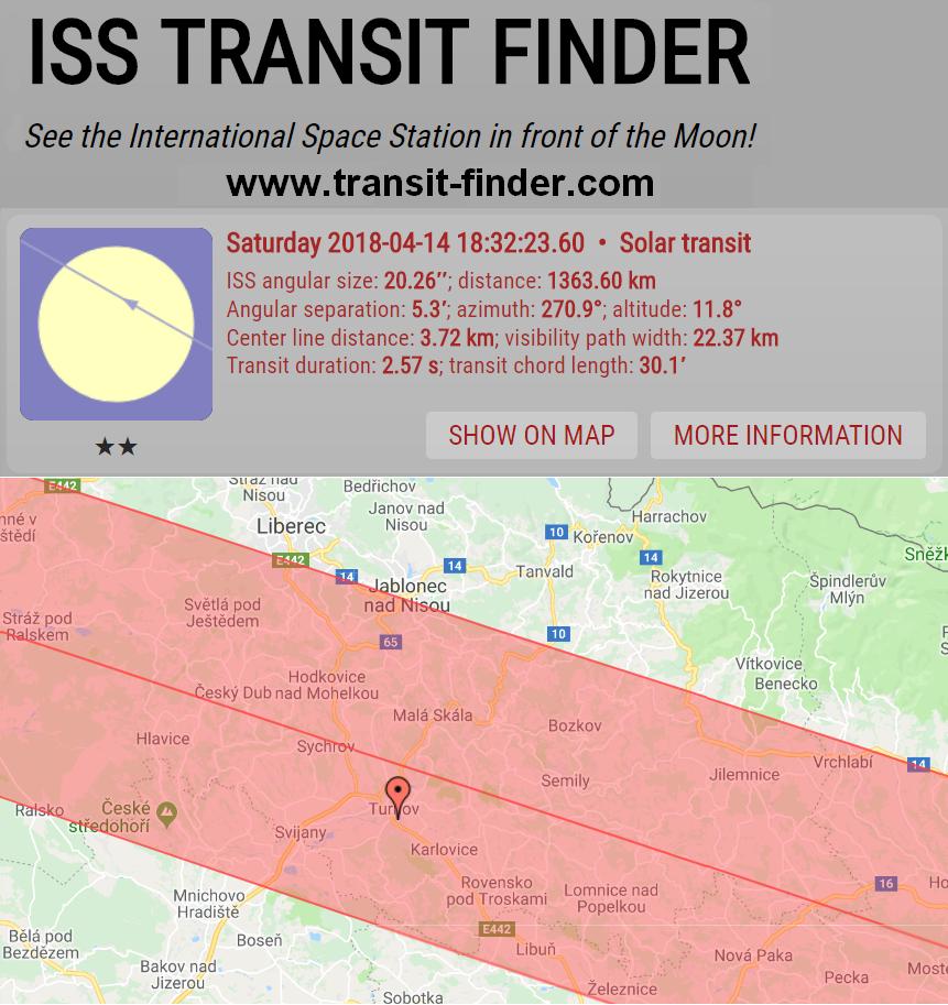Předpověď přeletu ISS přes Slunce 14. 4. 2018 podle transit-finder.com