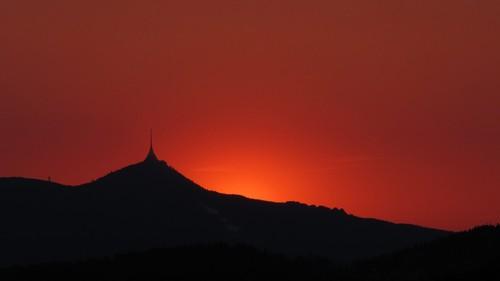 Ještěd po západu Slunce