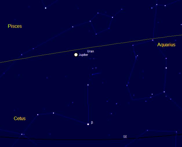 poloha Jupiteru ráno nad jihovýchodem