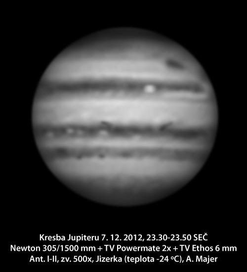 Jupiter 7. 12. pozorovaný na Jizerce a nakreslený Alešem Majerem