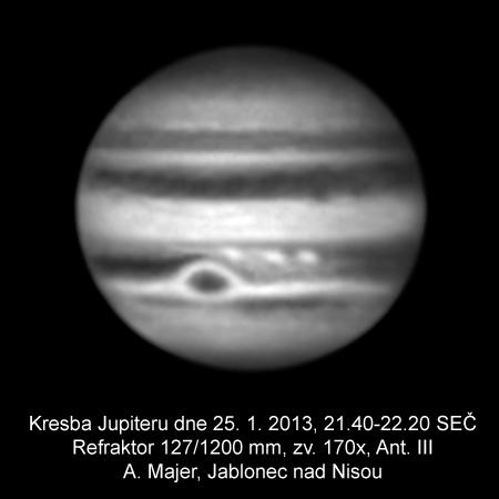 Jupiter 25. ledna 2013, kreba: Aleš Majer