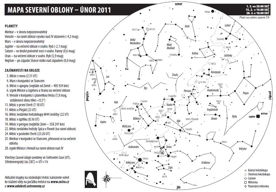 mapa oblohy na únor 2011