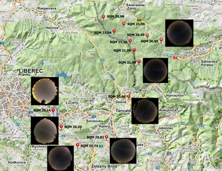 mapa lokalit měření SQM a celooblohovky