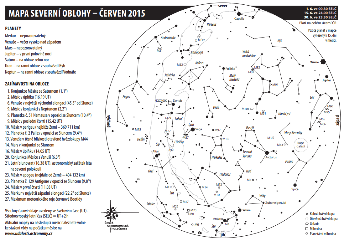 mapa oblohy červen 2015