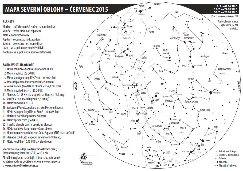 mapka oblohy na červenec 2015, Aleš Majer