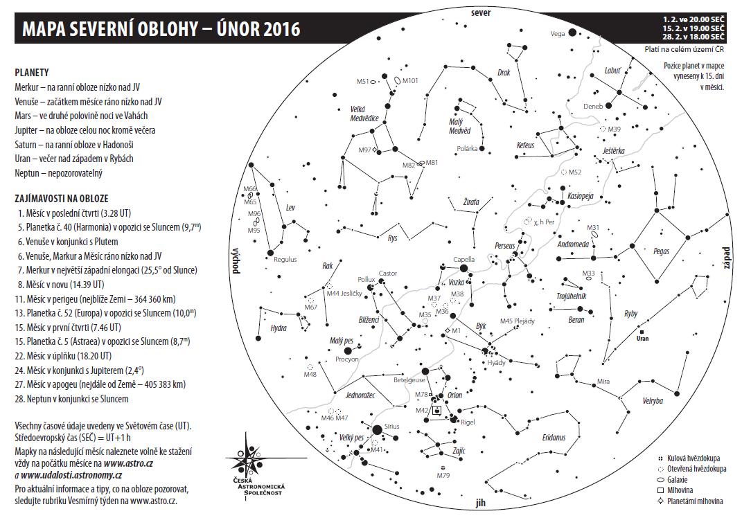 mapka na únor 2016