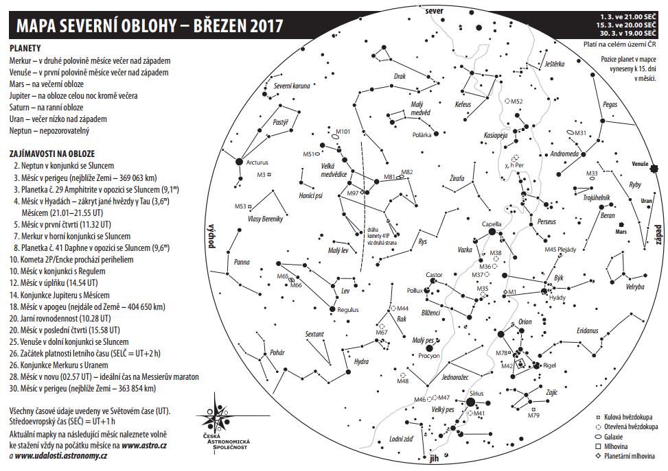 Mapa oblohy v březnu 2017