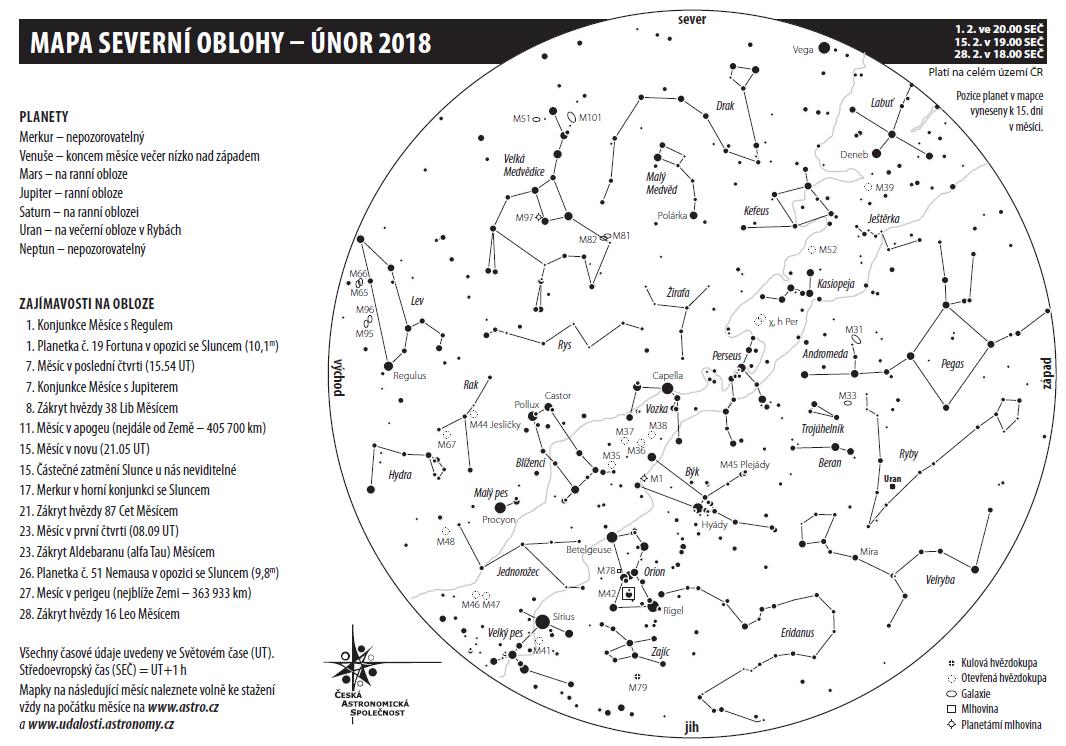 Mapka oblohy v únoru 2018, Aleš Majer