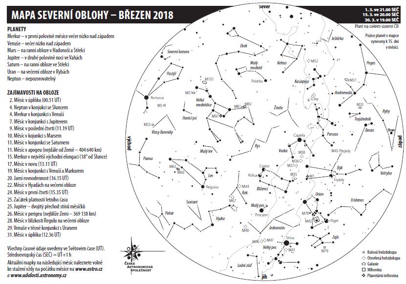 Mapa oblohy v březnu 2018