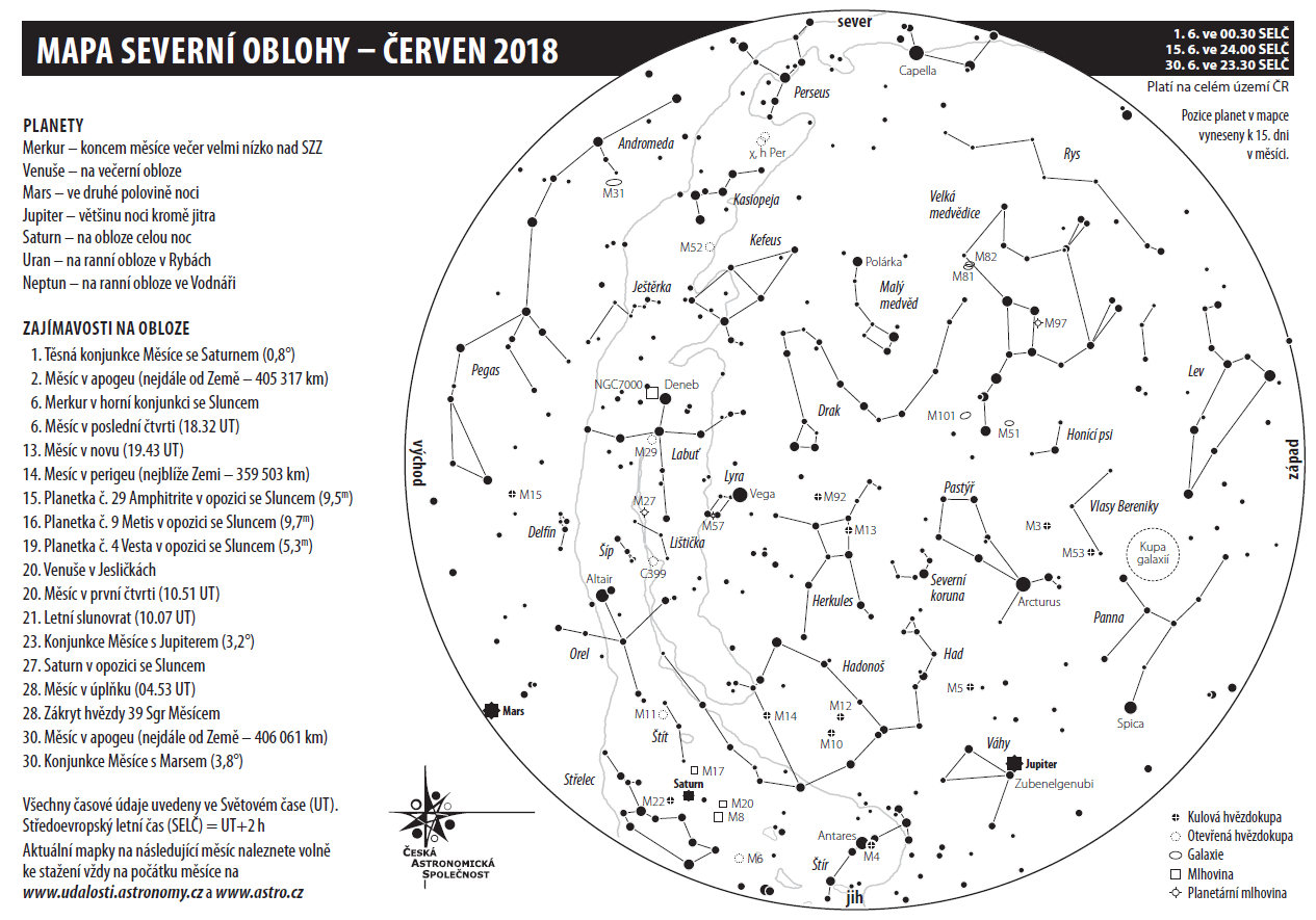 mapka oblohy červen 2018, autor: Aleš Majer