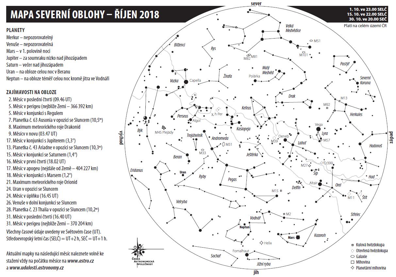 Mapa oblohy v říjnu 2018, Aleš Majer