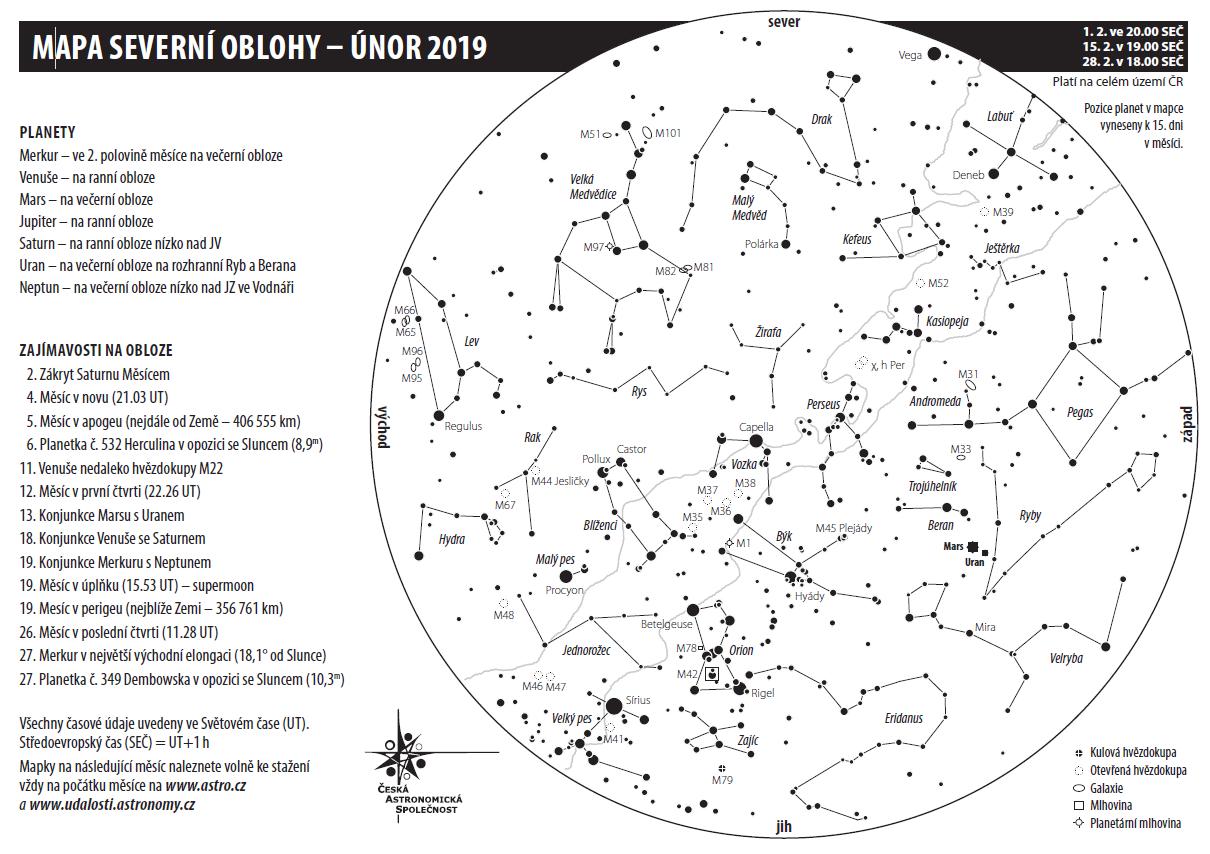 mapa oblohy v únoru 2019, Aleš Majer