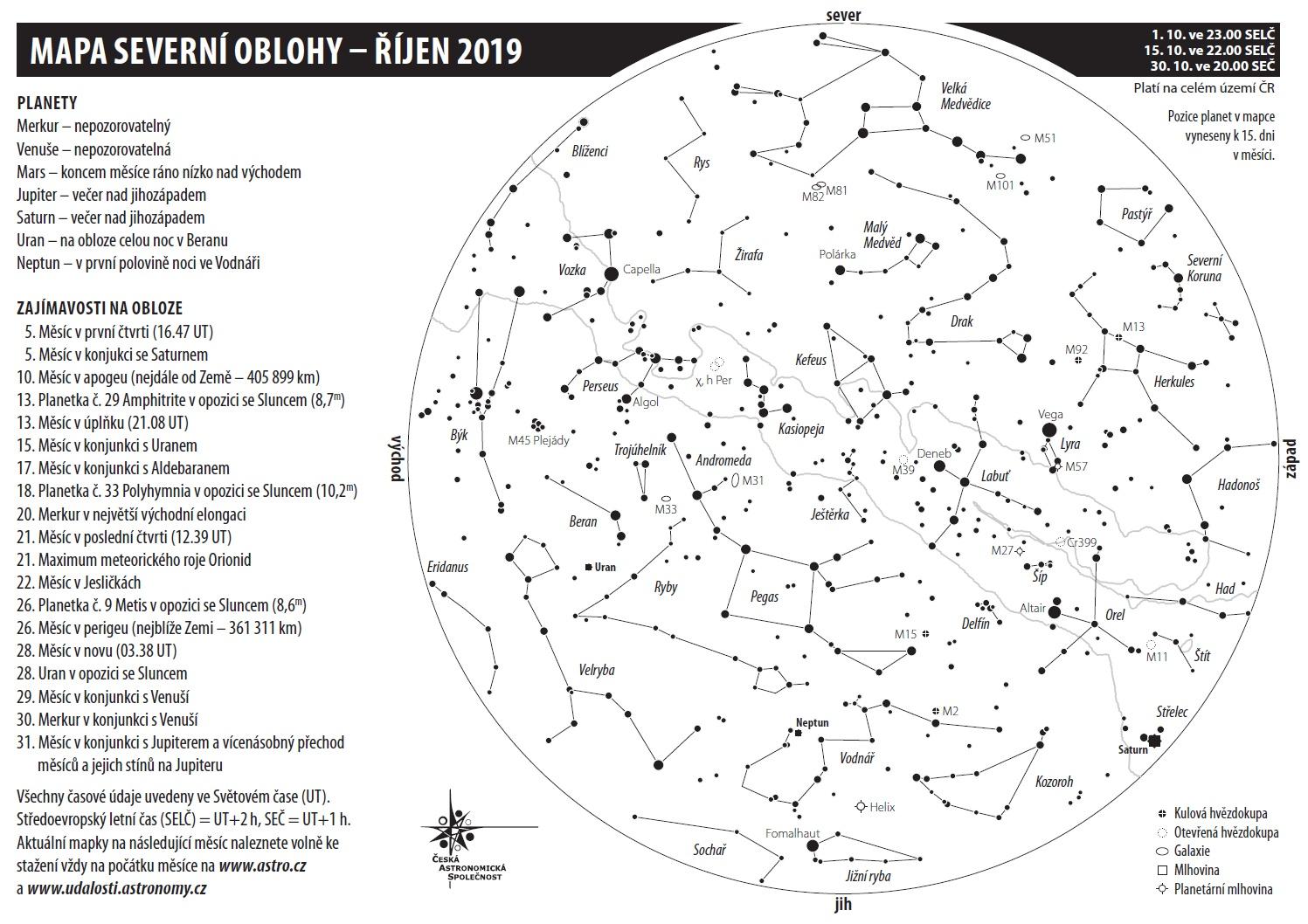 mapa oblohy v říjnu 2019