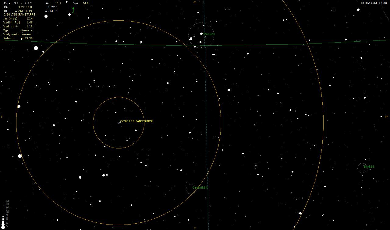 mapka pro vyhledání komety 2017 S3