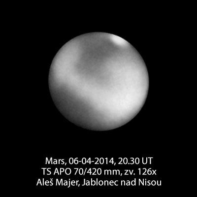 Mars 6. dubna 2014, kresba v počítači Aleše Majera