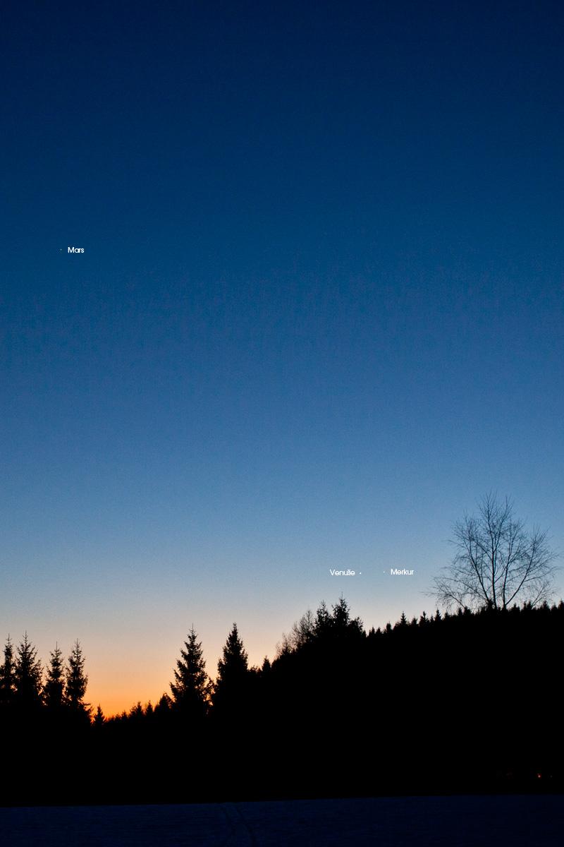 Merkur Venuše a Mars