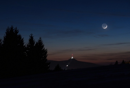 Měsíc nad Ještědem 29.1.2017, Martin Gembec