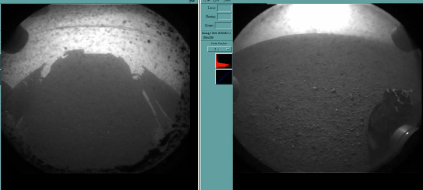První dva snímky z navigačních kamer Curiosity. NASA/JPL