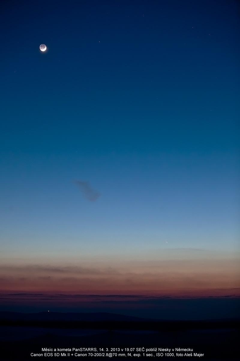 Měsíc a kometa PanSTARRS