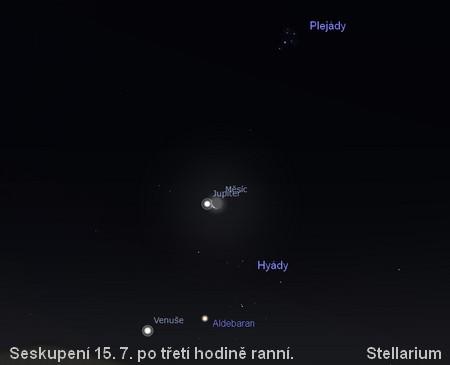 seskupení 15.7. na ranní obloze - Venuše a Aldebaran a Jupiter a Měsíc