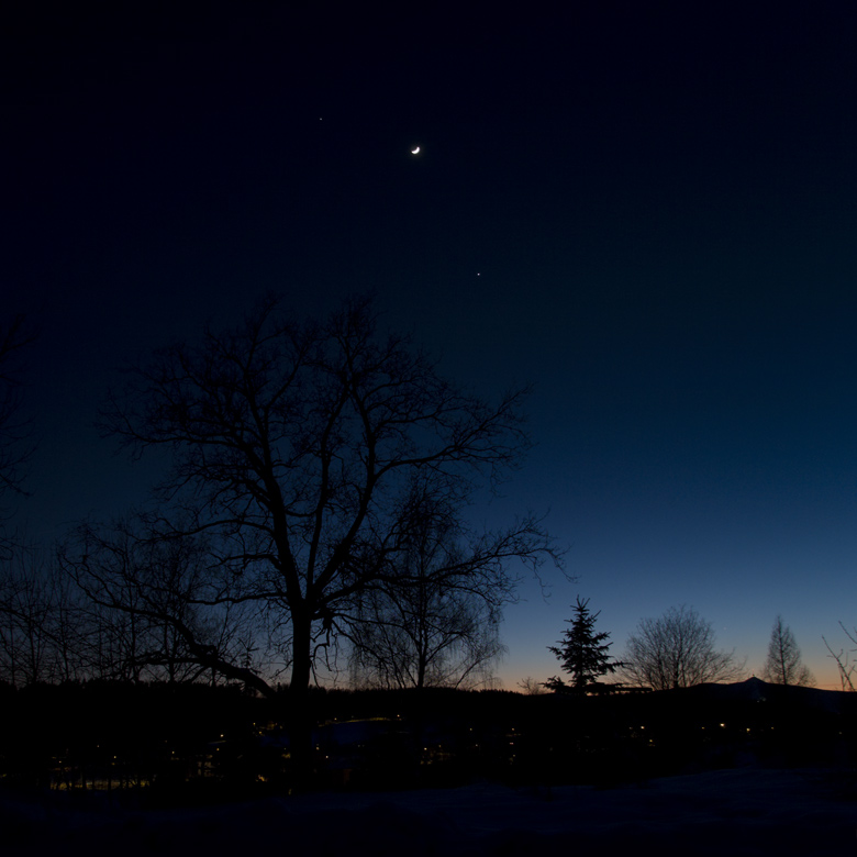 Merkur, Venuše, Měsíc a Jupiter 26.2.2012